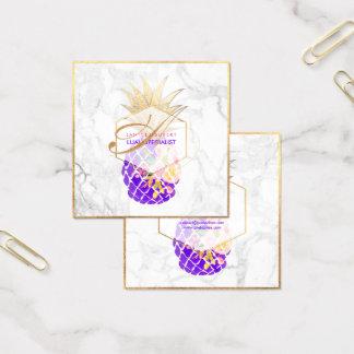 PixDezines Aloha Ananas/Gold/Marmor Quadratische Visitenkarte