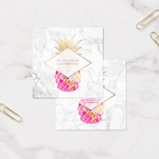 PixDezines Aloha Ananas/Rosa+Gold/Marmor Quadratische Visitenkarte