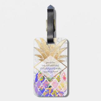 PixDezines Aloha Ananas+Weißer Marmor Gepäckanhänger