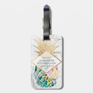 PixDezines Aloha Ananas+Weißer Marmor Kofferanhänger