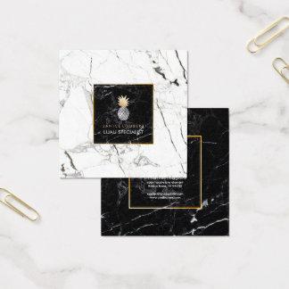 PixDezines Ananas/Schwarzes+Weißer Marmor Quadratische Visitenkarte