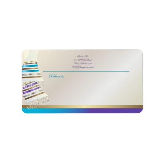 ✡ PixDezines Aqua/lila Tallits Adressaufkleber