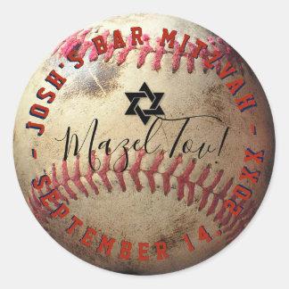 PixDezines Baseball Mitzvah Runder Aufkleber