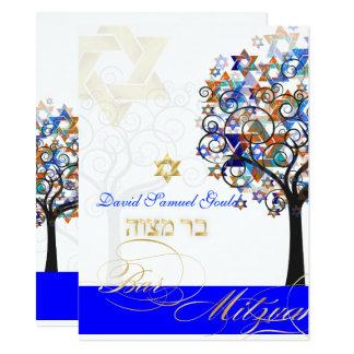 PixDezines BAUM des LEBEN-BAR MITZVAH 14 X 19,5 Cm Einladungskarte