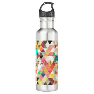 PixDezines Boho Aquarell geometrisch/Dreiecke Trinkflasche