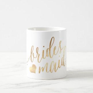 PixDezines Brautjungfer/Imitat-Gold/modernes Kaffeetasse