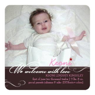 PixDezines diy Farben, fotos Geburtsmitteilung Quadratische 13,3 Cm Einladungskarte