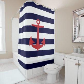 PixDezines DIY Farbeseestreifen/roter Anker Duschvorhang