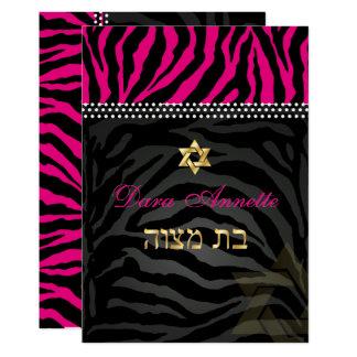 PixDezines DIY färbt rosa Zebra, Schläger Mitzvah 12,7 X 17,8 Cm Einladungskarte