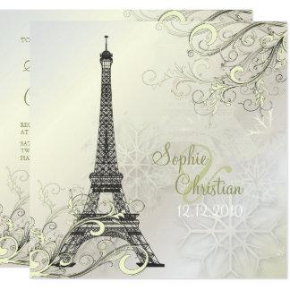 PixDezines EIFFEL PARIS+SCHNEEFLOCKE-EINLADUNGEN Karte