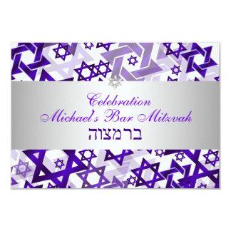 PixDezines Empfangs-Barmitzvah/-veilchen/-silber 8,9 X 12,7 Cm Einladungskarte