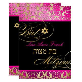 PixDezines Flora-Damast, Schläger Mitzvah 12,7 X 17,8 Cm Einladungskarte