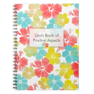 PixDezines Hibiskus/Buch der positiven Aspekte Spiral Notizblock