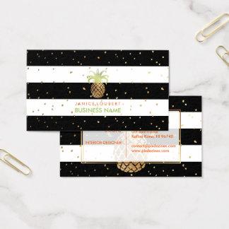 PixDezines Imitat-Gold Pineapples/B+W-Streifen Visitenkarte