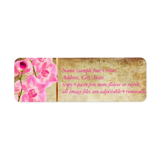 PixDezines Imitatpergament/rosa kona Orchidee Rücksendeetikett