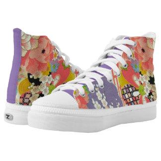 PixDezines Kimono/Pfingstrosen/Kirschblüten Hoch-geschnittene Sneaker