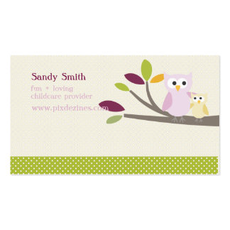 PixDezines Mama + Babyeulenkinderbetreuung Visitenkarten Vorlagen