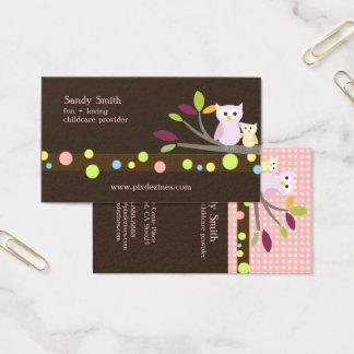 PixDezines Mama + Babyeulenkinderbetreuung Visitenkarte