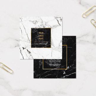 PixDezines Marmor/Black+Weiß Quadratische Visitenkarte