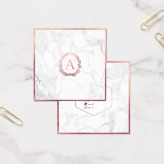 PixDezines Marmor+DIY Imitat-Rosen-Goldmonogramm Quadratische Visitenkarte