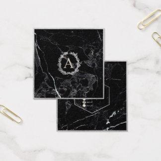 PixDezines Marmor+DIY Imitat-silbernes Monogramm Quadratische Visitenkarte