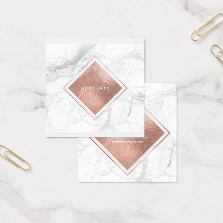 PixDezines Marmor+Imitat-Rosen-Goldfolie Quadratische Visitenkarte