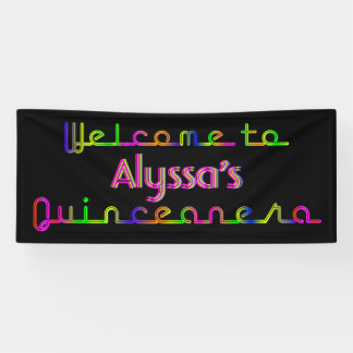 PixDezines Neonlichter Quinceanera Fahne 6' x2.5 Banner