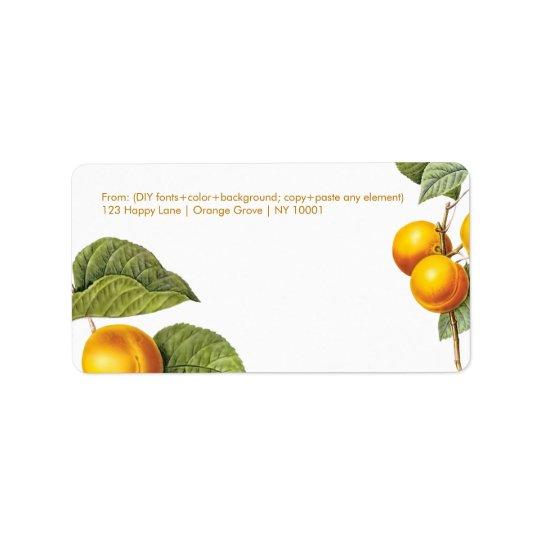 PixDezines Obstgarten/Pfirsiche/Redoute Adressaufkleber