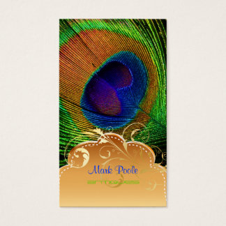 PixDezines Pfaufeder+mit Filigran geschmückter Visitenkarte