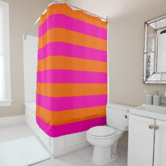 PixDezines Pink/Orange/Streifen justierbar Duschvorhang