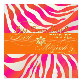 PixDezines Pink+Orange Zebra, Schläger Mitzvah Quadratische 13,3 Cm Einladungskarte