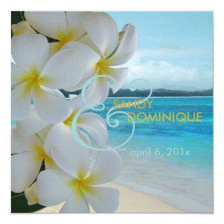 PixDezines Plumeria-Leu /Beach/Tropical/DIYfonts Quadratische 13,3 Cm Einladungskarte