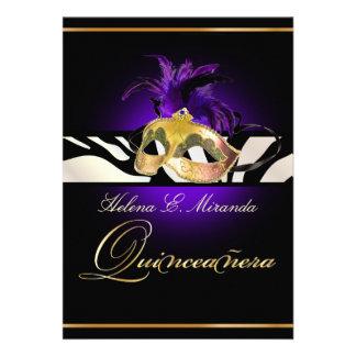 PixDezines Quincenera purpurrote Zebra DIY Farbe Personalisierte Einladung