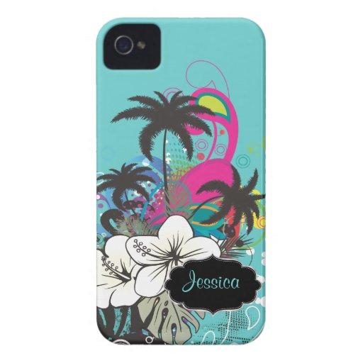 PixDezines Retro Aloha/DIY Hintergrundfarbe iPhone 4 Case-Mate Hüllen