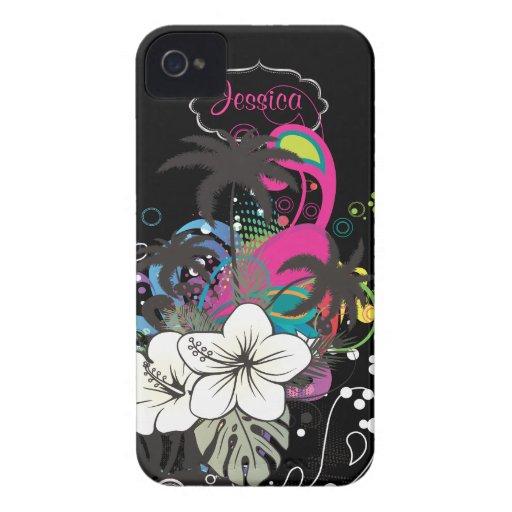 PixDezines Retro Aloha/DIY Hintergrundfarbe iPhone 4 Hüllen