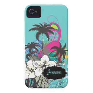 PixDezines Retro Aloha/DIY Hintergrundfarbe iPhone 4 Cover
