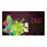 PixDezines Retro Blumen + Merlot Visitenkarten
