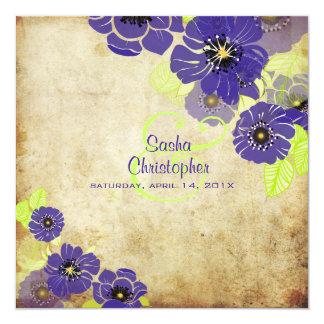 PixDezines Retro Mohnblumen, die Einladungen Quadratische 13,3 Cm Einladungskarte