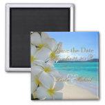 PixDezines retten Datum, Strand+Plumeria-Leu Quadratischer Magnet