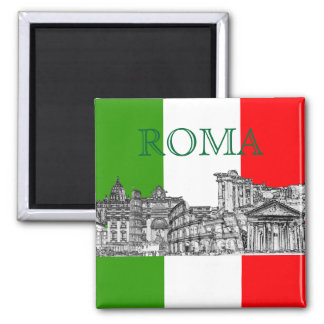PixDezines Rom, Rom… Reise-Andenkengeschenke Quadratischer Magnet