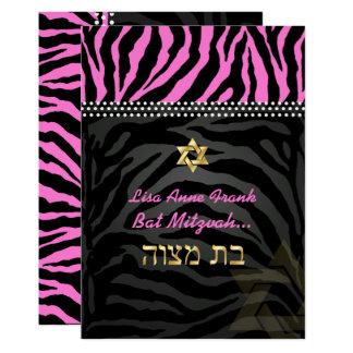 PixDezines rosa Zebra-Schläger Mitzvah/DIY Farbe 12,7 X 17,8 Cm Einladungskarte