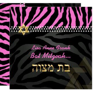 PixDezines rosa Zebra-Schläger Mitzvah/DIY Farbe Karte