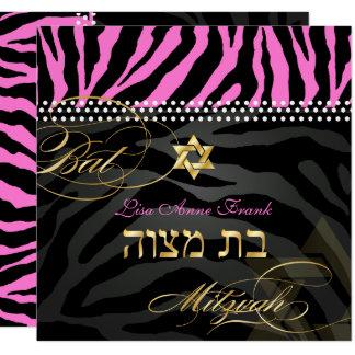 PixDezines rosa Zebra-Schläger Mitzvah/DIY Farbe Quadratische 13,3 Cm Einladungskarte