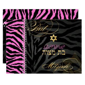 PixDezines rosa Zebra-Schläger Mitzvah RSVP/DIY Karte