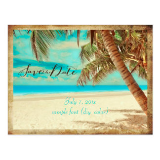 PixDezines/Save the Date/Vintager Strand Postkarte