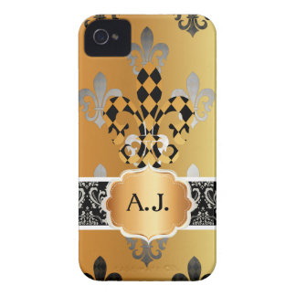 PixDezines schwarze GoldLilie iPhone 4 Case-Mate Hüllen