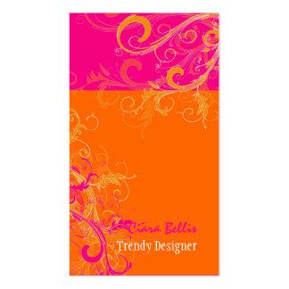 PixDezines Sorbet-Wirbel Pink+Mandarine Visitenkartenvorlage