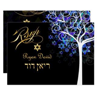PixDezines UAWG Baum des Lebens Mitzvah/Lila+Aqua Karte