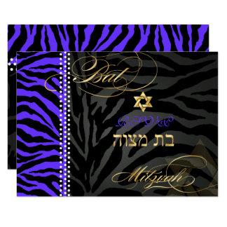 PixDezines uAwg lila Zebra-Streifen, Schläger 8,9 X 12,7 Cm Einladungskarte