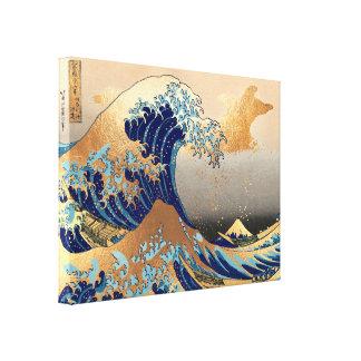 PixDezines Vintag, große Welle, Hokusai 葛飾北斎の神奈川沖浪 Leinwanddruck
